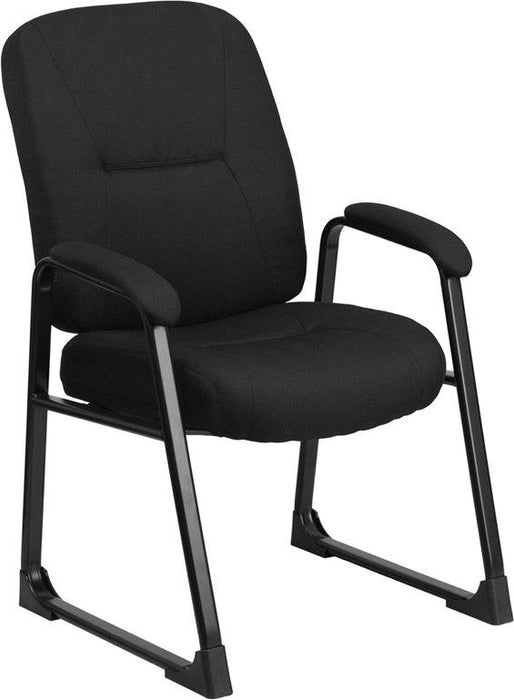Flash Furniture WL-738AV-BK-GG HERCULES Series Big & Tall 400 lb. Rated Black Fabric Executive Side Chair with Sled Base