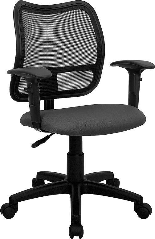 Flash Furniture WL-A277-GY-A-GG Mid-Back Gray Mesh Swivel Task Chair with Adjustable Arms