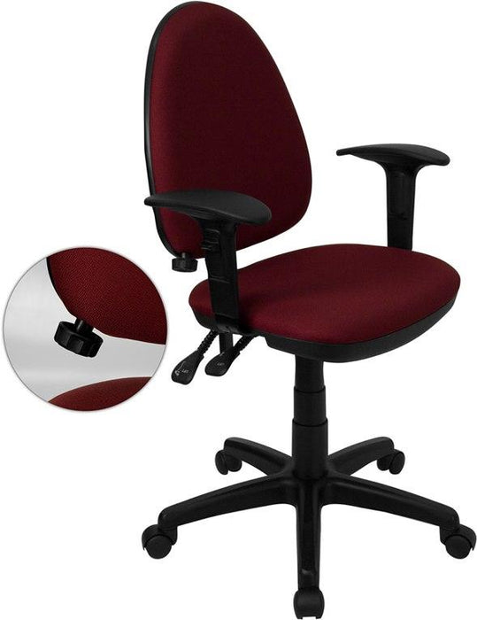 Flash Furniture WL-A654MG-BY-A-GG Mid-Back Burgundy Fabric Multifunction Swivel Task Chair with Adjustable Lumbar Support and Adjustable Arms