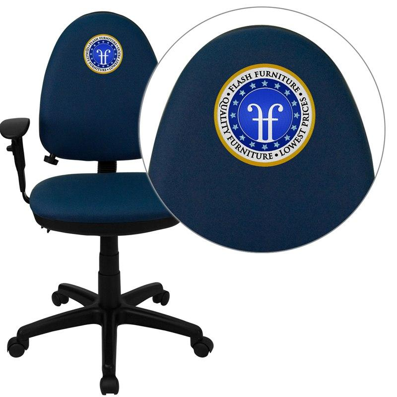 Flash Furniture WL-A654MG-NVY-A-EMB-GG Embroidered Mid-Back Navy Blue Fabric Multifunction Swivel Task Chair with Adjustable Lumbar Support and Adjustable Arms