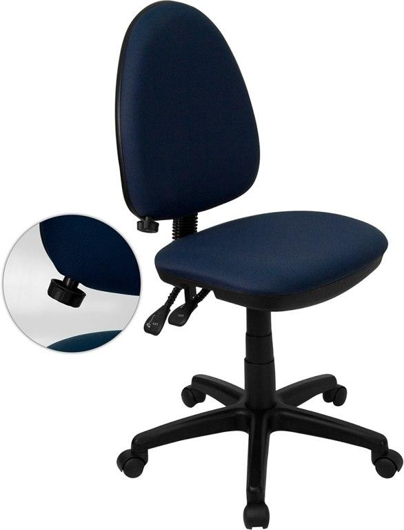 Flash Furniture WL-A654MG-NVY-GG Mid-Back Navy Blue Fabric Multifunction Swivel Task Chair with Adjustable Lumbar Support
