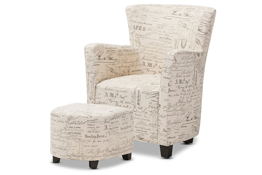 Wholesale interiors Benson French Script Patterned Fabric Club Chair and Ottoman Set WS-0710-Beige-L277