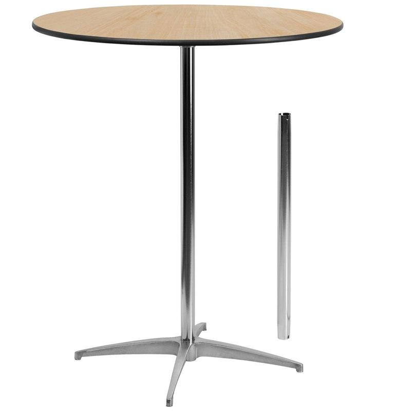 Flash Furniture XA-36-COTA-GG 36'' Round Wood Cocktail Table with 30'' and 42'' Columns