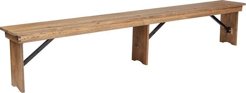 Flash Furniture XA-B-96X12-L-GG HERCULES Series 8' x 12'' Antique Rustic Solid Pine Folding Farm Bench with 3 Legs