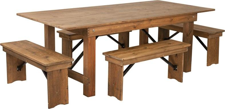 Flash Furniture XA-FARM-1-GG HERCULES Series 7' x 40'' Antique Rustic Folding Farm Table and Four Bench Set