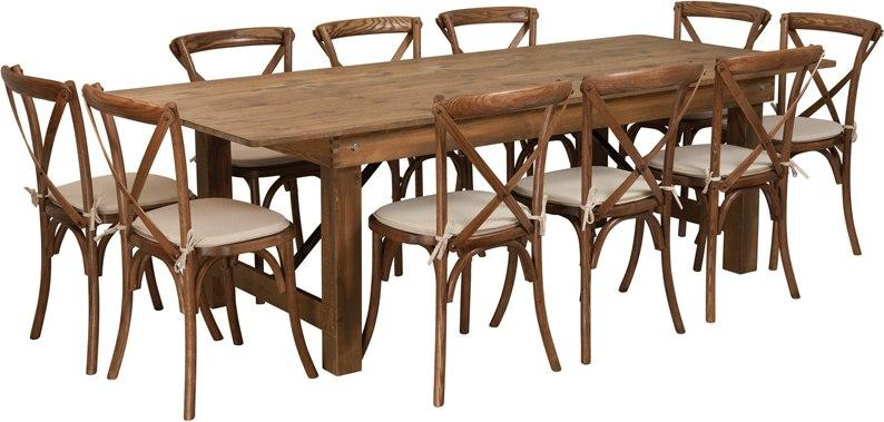 Flash Furniture XA-FARM-13-GG HERCULES Series 8' x 40'' Antique Rustic Folding Farm Table Set with 10 Cross Back Chairs and Cushions