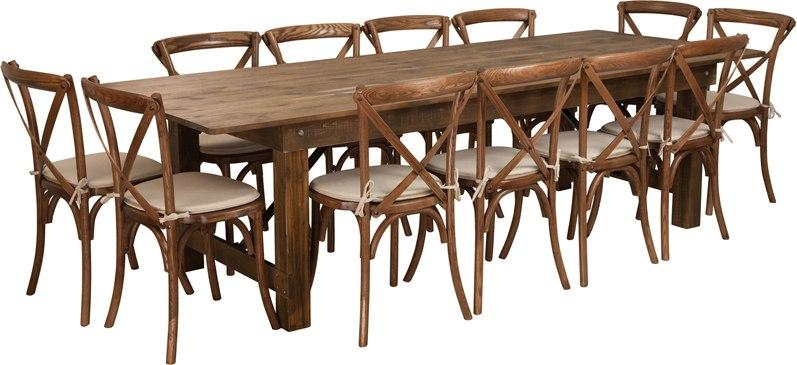 Flash Furniture XA-FARM-16-GG HERCULES Series 9' x 40'' Antique Rustic Folding Farm Table Set with 12 Cross Back Chairs and Cushions