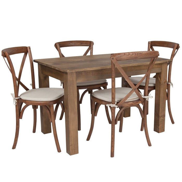 "Flash Furniture XA-FARM-17-GG 46"" x 30"" Antique Rustic Farm Table Set with 4 Cross Back Chairs and Cushions"