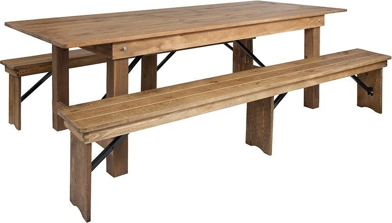 Flash Furniture XA-FARM-4-GG HERCULES Series 8' x 40'' Antique Rustic Folding Farm Table and Two Bench Set