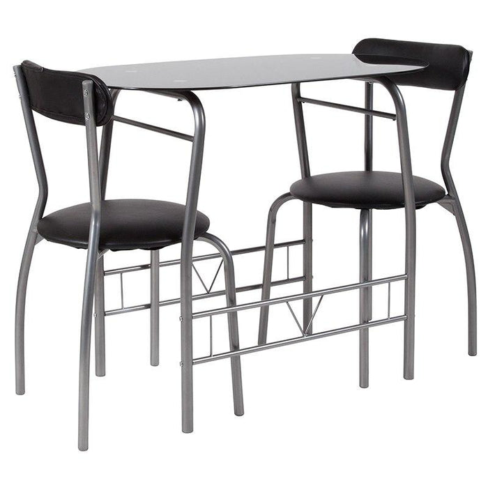 Flash Furniture XM-JM-A0278-1-2-BK-GG Sutton 3 Piece Space-Saver Bistro Set with Black Glass Top Table and Black Vinyl Padded Chairs