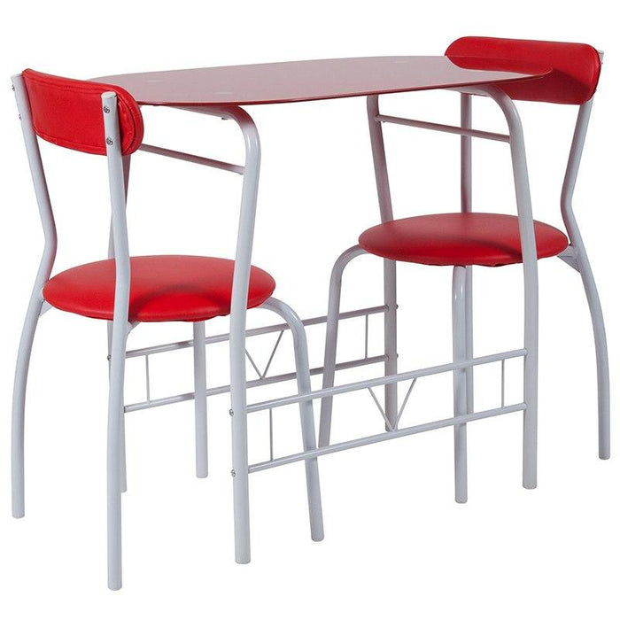 Flash Furniture XM-JM-A0278-1-2-RD-GG Sutton 3 Piece Space-Saver Bistro Set with Red Glass Top Table and Red Vinyl Padded Chairs