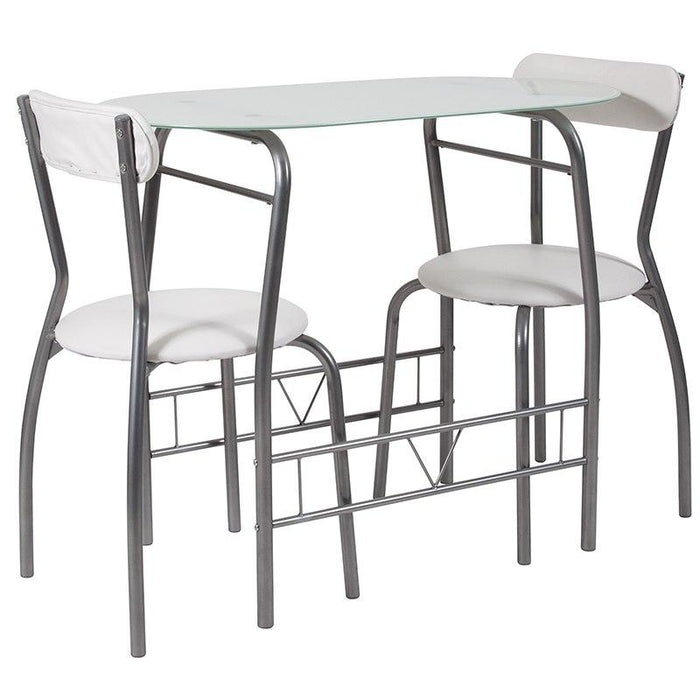 Flash Furniture XM-JM-A0278-1-2-WH-GG Sutton 3 Piece Space-Saver Bistro Set with White Glass Top Table and White Vinyl Padded Chairs