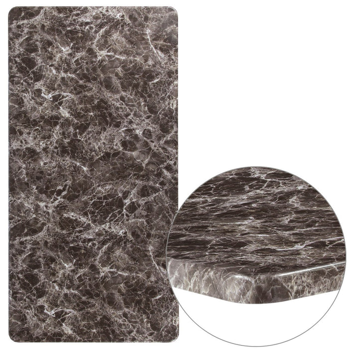 "Flash Furniture XU-3060-MAR-GG 30"" x 60"" Rectangular Gray Marble Laminate Table Top"