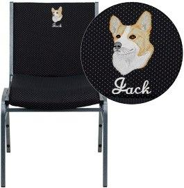 Flash Furniture XU-60153-BK-EMB-GG Embroidered HERCULES Series Heavy Duty Black Dot Fabric Stack Chair