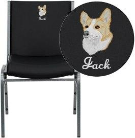 Flash Furniture XU-60153-BK-VYL-EMB-GG Embroidered HERCULES Series Heavy Duty Black Vinyl Stack Chair