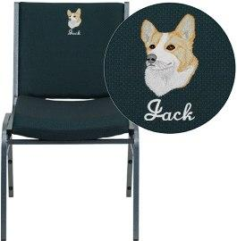 Flash Furniture XU-60153-GN-EMB-GG Embroidered HERCULES Series Heavy Duty Green Patterned Fabric Stack Chair