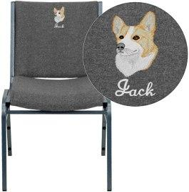 Flash Furniture XU-60153-GY-EMB-GG Embroidered HERCULES Series Heavy Duty Gray Fabric Stack Chair