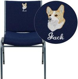 Flash Furniture XU-60153-NVY-EMB-GG Embroidered HERCULES Series Heavy Duty Navy Blue Dot Fabric Stack Chair