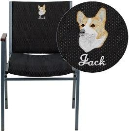 Flash Furniture XU-60154-BK-EMB-GG Embroidered HERCULES Series Heavy Duty Black Dot Fabric Stack Chair with Arms
