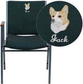 Flash Furniture XU-60154-GN-EMB-GG Embroidered HERCULES Series Heavy Duty Green Patterned Fabric Stack Chair with Arms