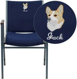 Flash Furniture XU-60154-NVY-EMB-GG Embroidered HERCULES Series Heavy Duty Navy Blue Dot Fabric Stack Chair with Arms