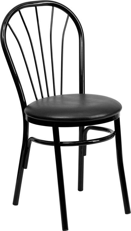 Flash Furniture XU-698B-BLKV-GG HERCULES Series Fan Back Metal Chair - Black Vinyl Seat