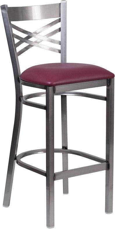 Flash Furniture XU-6F8B-CLR-BAR-BURV-GG HERCULES Series Clear Coated ''X'' Back Metal Restaurant Barstool - Burgundy Vinyl Seat