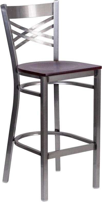 Flash Furniture XU-6F8B-CLR-BAR-MAHW-GG HERCULES Series Clear Coated ''X'' Back Metal Restaurant Barstool - Mahogany Wood Seat