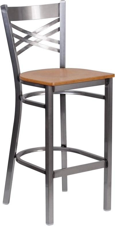 Flash Furniture XU-6F8B-CLR-BAR-NATW-GG HERCULES Series Clear Coated ''X'' Back Metal Restaurant Barstool - Natural Wood Seat