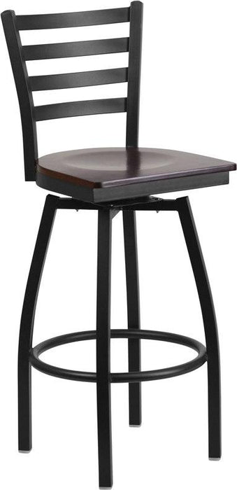 Flash Furniture XU-6F8B-LADSWVL-WALW-GG HERCULES Series Black Ladder Back Swivel Metal Barstool - Walnut Wood Seat
