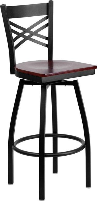 Flash Furniture XU-6F8B-XSWVL-MAHW-GG HERCULES Series Black ''X'' Back Swivel Metal Barstool - Mahogany Wood Seat
