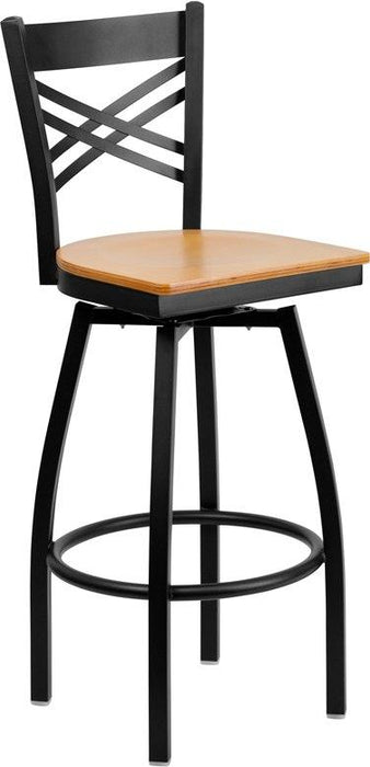 Flash Furniture XU-6F8B-XSWVL-NATW-GG HERCULES Series Black ''X'' Back Swivel Metal Barstool - Natural Wood Seat
