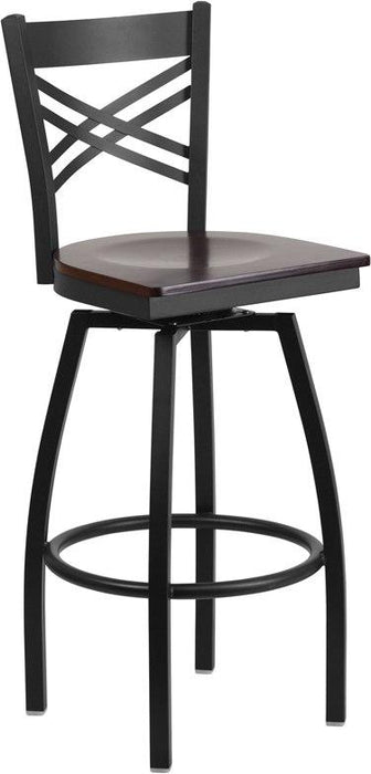 Flash Furniture XU-6F8B-XSWVL-WALW-GG HERCULES Series Black ''X'' Back Swivel Metal Barstool - Walnut Wood Seat