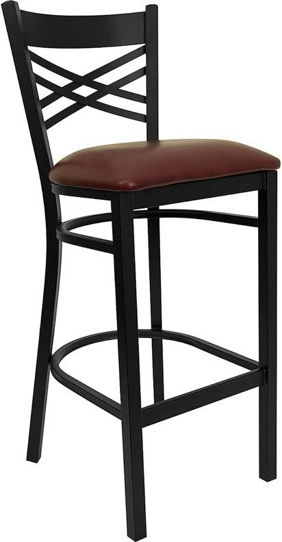 Flash Furniture XU-6F8BXBK-BAR-BURV-GG HERCULES Series Black ''X'' Back Metal Restaurant Barstool - Burgundy Vinyl Seat