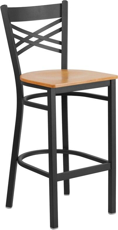 Flash Furniture XU-6F8BXBK-BAR-NATW-GG HERCULES Series Black ''X'' Back Metal Restaurant Barstool - Natural Wood Seat