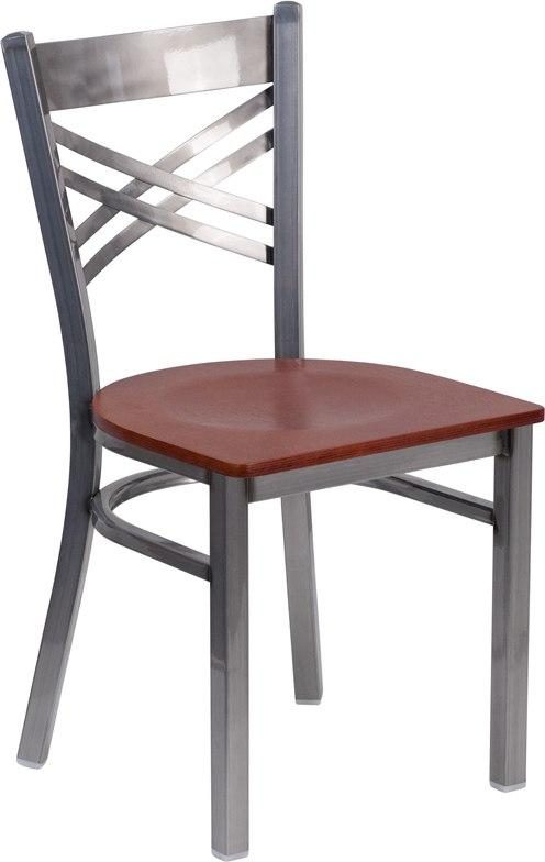 Flash Furniture XU-6FOB-CLR-CHYW-GG HERCULES Series Clear Coated ''X'' Back Metal Restaurant Chair - Cherry Wood Seat