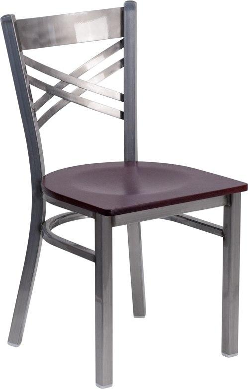 Flash Furniture XU-6FOB-CLR-MAHW-GG HERCULES Series Clear Coated ''X'' Back Metal Restaurant Chair - Mahogany Wood Seat