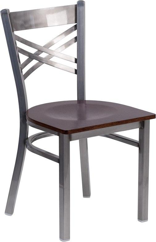 Flash Furniture XU-6FOB-CLR-WALW-GG HERCULES Series Clear Coated ''X'' Back Metal Restaurant Chair - Walnut Wood Seat