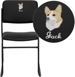 Flash Furniture XU-8700-BLK-B-VYL-30-EMB-GG Embroidered HERCULES Series 1000 lb. Capacity High Density Black Vinyl Stacking Chair with Sled Base