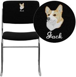 Flash Furniture XU-8700-CHR-B-30-EMB-GG Embroidered HERCULES Series 1000 lb. Capacity Black Fabric High Density Stacking Chair with Chrome Sled Base