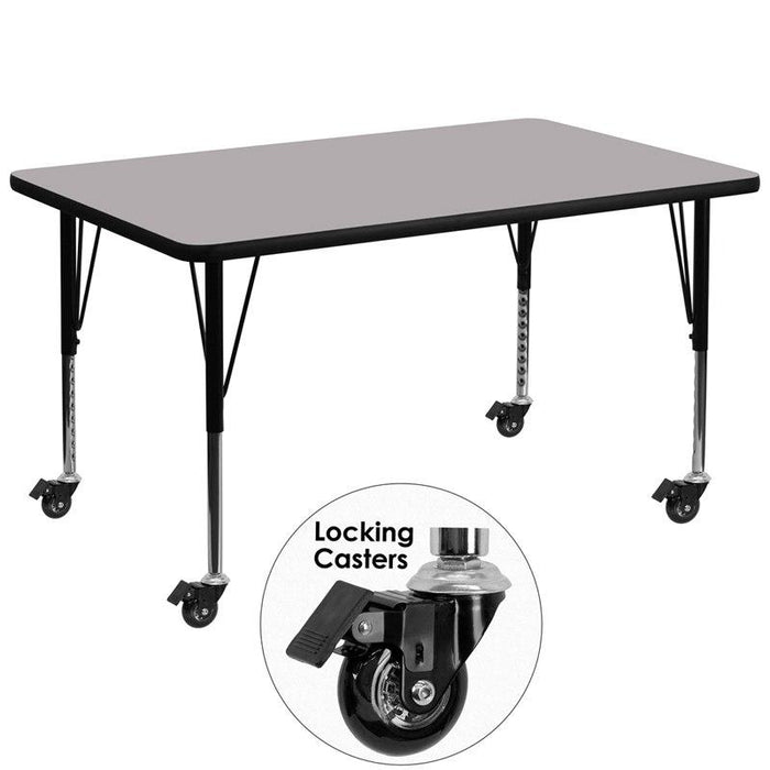 Flash Furniture XU-A2448-REC-GY-T-P-CAS-GG Mobile 24''W x 48''L Rectangular Grey Thermal Laminate Activity Table - Height Adjustable Short Legs