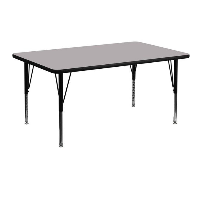 Flash Furniture XU-A2448-REC-GY-T-P-GG 24''W x 48''L Rectangular Grey Thermal Laminate Activity Table - Height Adjustable Short Legs