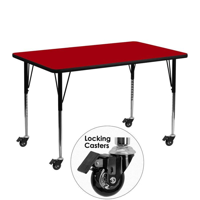 Flash Furniture XU-A2448-REC-RED-T-A-CAS-GG Mobile 24''W x 48''L Rectangular Red Thermal Laminate Activity Table - Standard Height Adjustable Legs