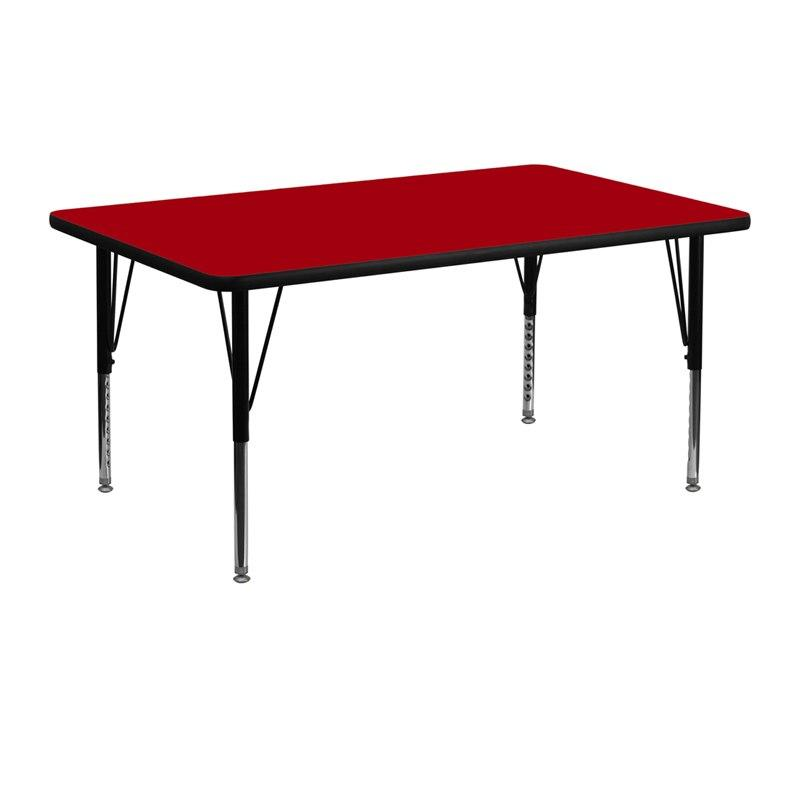 Flash Furniture XU-A2448-REC-RED-T-P-GG 24''W x 48''L Rectangular Red Thermal Laminate Activity Table - Height Adjustable Short Legs