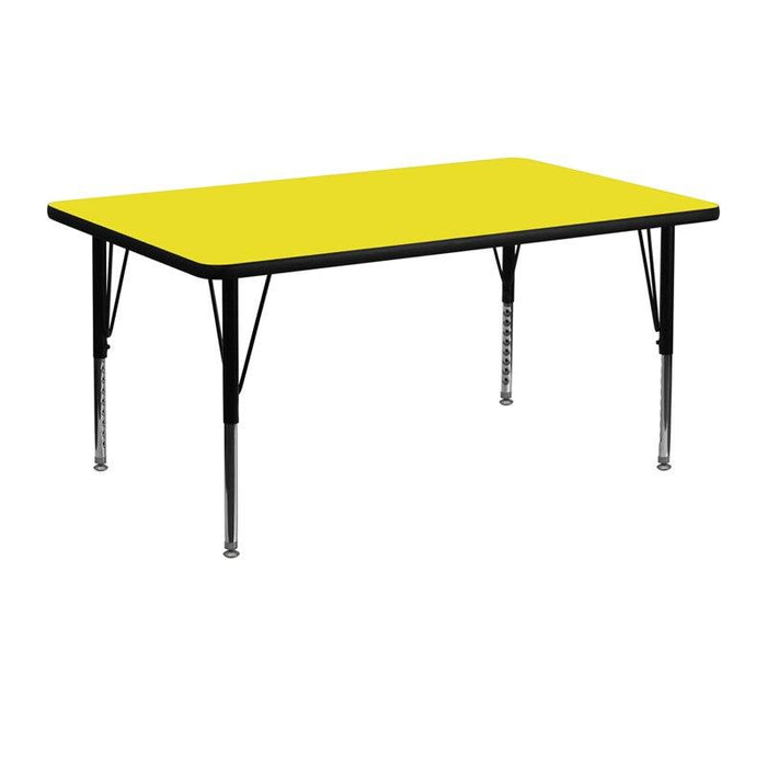 Flash Furniture XU-A2448-REC-YEL-H-P-GG 24''W x 48''L Rectangular Yellow HP Laminate Activity Table - Height Adjustable Short Legs