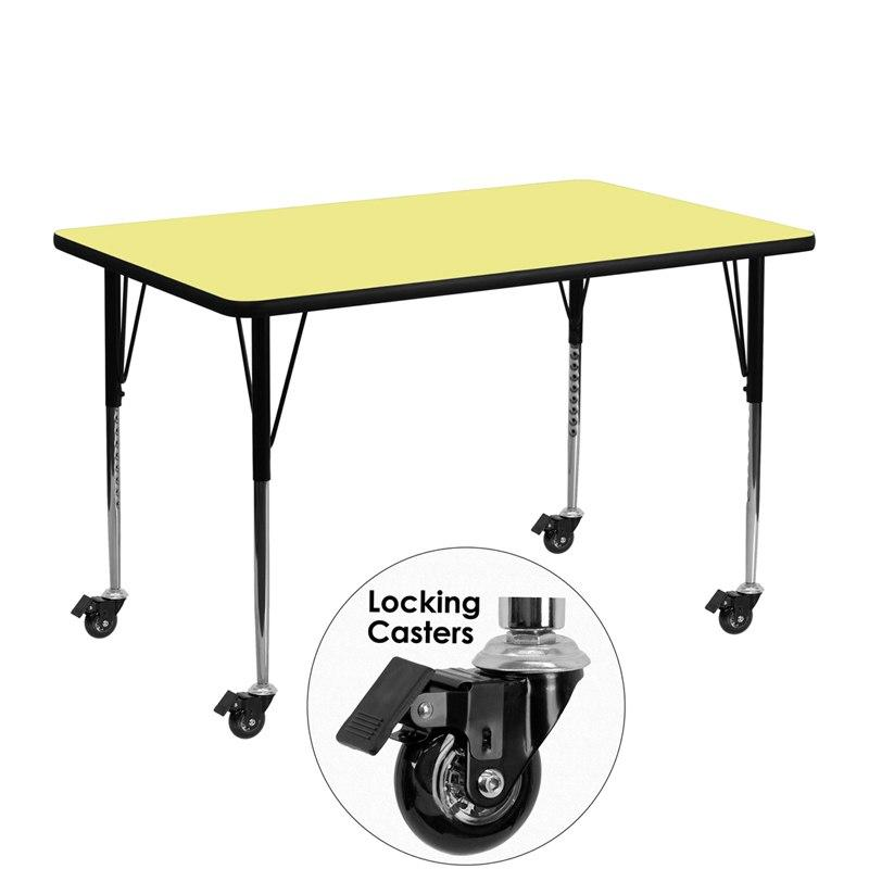 Flash Furniture XU-A2448-REC-YEL-T-A-CAS-GG Mobile 24''W x 48''L Rectangular Yellow Thermal Laminate Activity Table - Standard Height Adjustable Legs