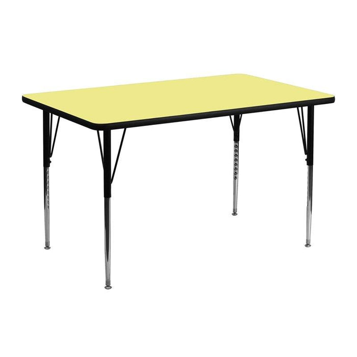 Flash Furniture XU-A2448-REC-YEL-T-A-GG 24''W x 48''L Rectangular Yellow Thermal Laminate Activity Table - Standard Height Adjustable Legs