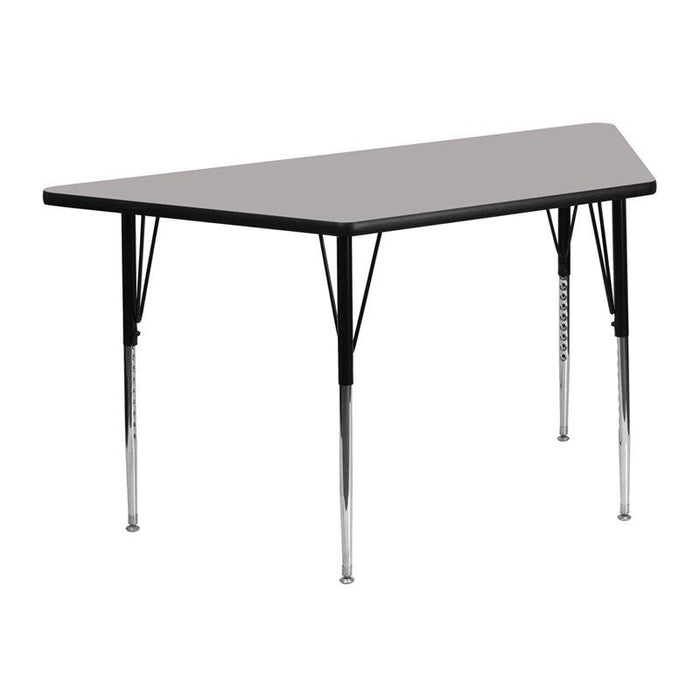 Flash Furniture XU-A2448-TRAP-GY-H-A-GG 25''W x 45''L Trapezoid Grey HP Laminate Activity Table - Standard Height Adjustable Legs