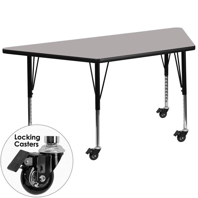 Flash Furniture XU-A2448-TRAP-GY-H-P-CAS-GG Mobile 25''W x 45''L Trapezoid Grey HP Laminate Activity Table - Height Adjustable Short Legs