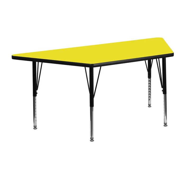 Flash Furniture XU-A2448-TRAP-YEL-H-P-GG 25''W x 45''L Trapezoid Yellow HP Laminate Activity Table - Height Adjustable Short Legs